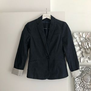 ZARA Dark Wash Chambray Blazer